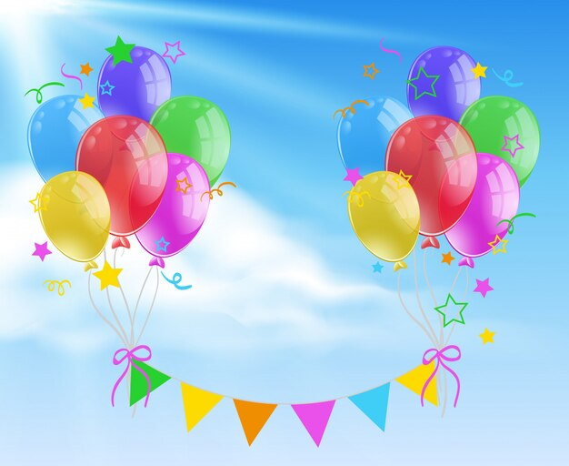 Colorful balloon background scene