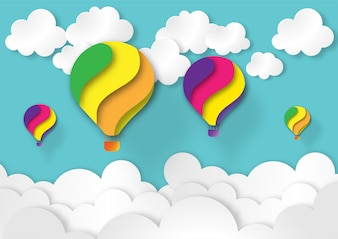 Colorful balloon in blue sky and white cloud paper art style