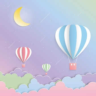 Colorful balloon and moon paper