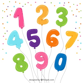 Colorful balloon number collection