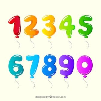Raccolta di numeri di palloncini colorati