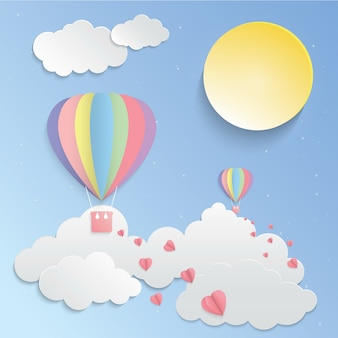 Colorful balloon and pink heart paper art vector