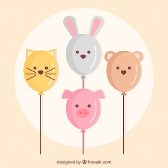 Colorful balloons background with animals shape