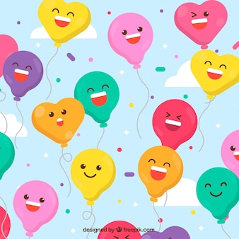 Colorful balloons background with cute faces