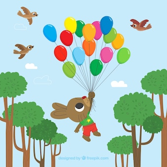 Colorful balloons background with cute rabbit