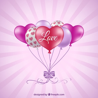 Colorful balloons background with heart shape in realistic style