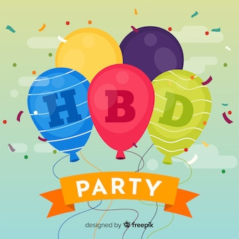 Colorful balloons birthday background