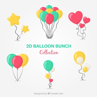 Colorful balloons bunch collection in 2d style