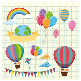 Colorful balloons and flags on grid background