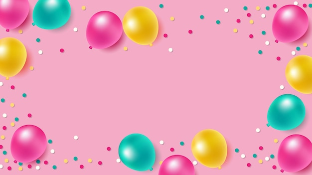 Colorful balloons  on pink background for party and celebrations with space for message