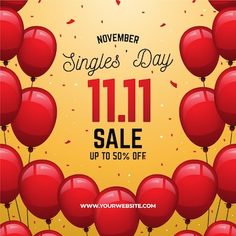 Colorful balloons singles day concept