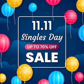 Colorful balloons singles' day