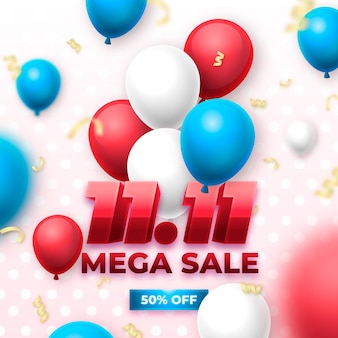 Colorful balloons singles day