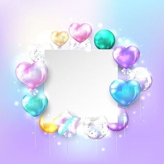Colorful balloons with copy space on pastel background