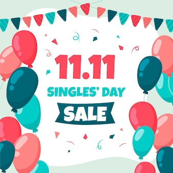 Colorful balloons with garland for singles' day
