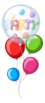 Colorful balloons with word party