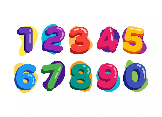 Colorful baloon kids numbers