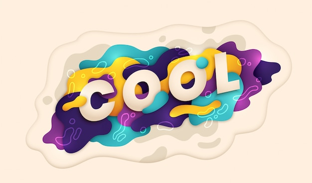 Colorful banner in abstract liquid style with caption cool.