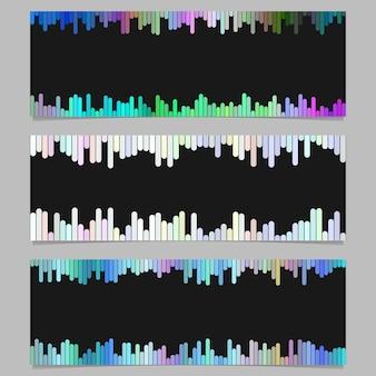 カラフルなバナーの背景デザインセット - 黒い背景に丸みを帯びた縦縞から水平ベクトルグラフィック