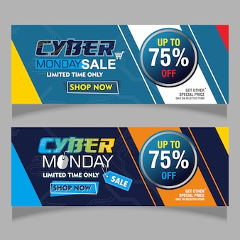 Colorful banner of cyber monday