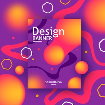 Colorful banner design with abstract 3d shapes
