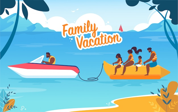 Colorful banner family vacation lettering cartoon