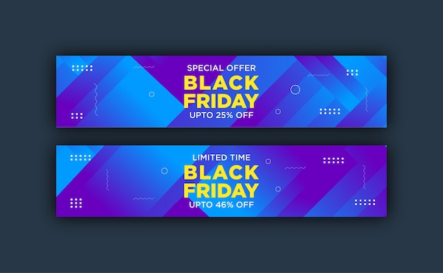 Colorful banner template for black friday