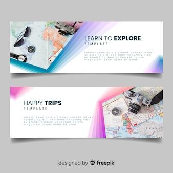 사진과 함께 여행 모험을위한 다채로운 배너 무료 벡터