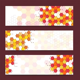 Colorful banners or headers with various hexagonal shapes. Vector banners ready for your text or design.