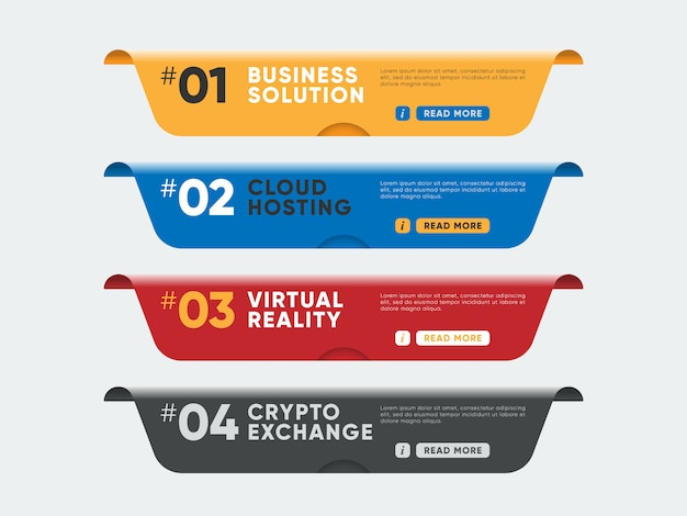 Colorful banners for website