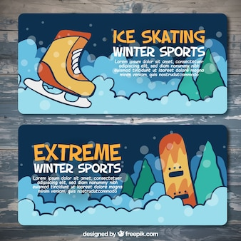 Colorful banners of winter sports