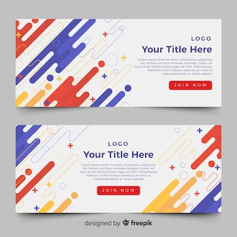 Colorful banners with abstract shapes