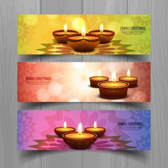 Colorful banners with candles for diwali