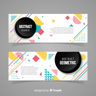 Colorful banners with geometric design