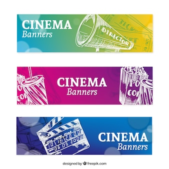 Colorful banners with hand drawn cinema elements