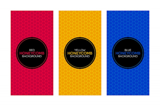 Colorful banners with honeycomb textures