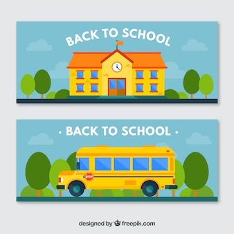 Colorful banners with school and school bus
