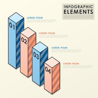 평면 스타일의 다채로운 막대 차트 infographic 요소 템플릿
