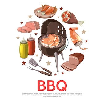Colorful barbecue party round concept