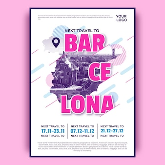 Colorful barcelona travel poster