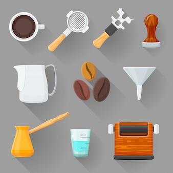 Colorful barista equipment illustration set