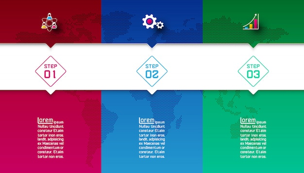 Colorful bars with business icon infographic template