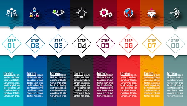 Colorful bars with business icon infographic