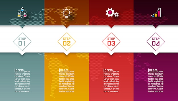 Colorful bars with business icon infographics