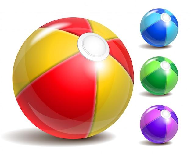 カラフルなビーチボール、プールや海辺での夏の楽しみの象徴。