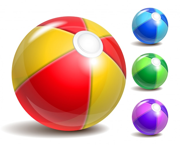 Colorful beach ball, symbol of summer fun at the pool or seaside.