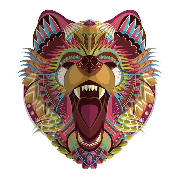 Colorful bear head