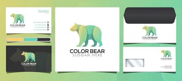 Красочный дизайн логотипа и логотипа bear