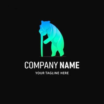 Красочный дизайн логотипа медведя. логотип градиент стиль животные
