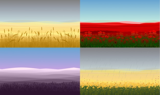 Colorful beautiful field landscapes set